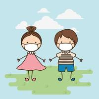 Boy and girl kids with masks against 2019 ncov virus vector design