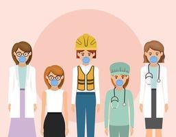 mujeres trabajadoras con máscaras contra el diseño vectorial del virus ncov 2019