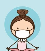 Girl kid with mask against 2019 ncov virus vector design