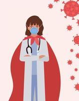Mujer médico heroína con capa contra el diseño vectorial 2019 vector