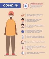 Covid 19 consejos de prevención de virus y avatar de hombre con diseño de vector de máscara