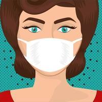 Mujer de arte pop con máscara sobre diseño de vector de fondo puntiagudo y estrellado