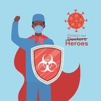 man doctor hero with cape and shield against 2019 ncov virus vector design