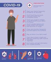Covid 19 virus prevention tips and man avatar with mask vector design