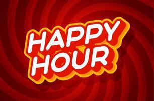 Plantilla de efecto de texto rojo y amarillo de happy hour con estilo de tipo 3d y concepto retro remolino ilustración de vector de fondo rojo.