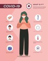 Consejos para la prevención del virus covid 19 y avatar de mujer con diseño de vector de máscara