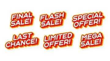gran mega venta, oferta especial establecida plantilla de efecto de texto rojo y amarillo con estilo de tipo 3d y concepto retro aislado en la ilustración de vector de fondo blanco.