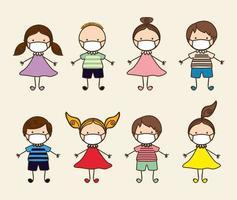 Boys and girls kids with masks against 2019 ncov virus vector design