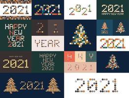 Año nuevo diverso signo inusual establecido para la decoración del evento 2021, lindo gráfico, concepto de emblema creativo para banner, folleto, volante, calendario, tarjeta de felicitación, invitación al evento. logotipo de vector aislado.
