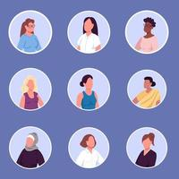 Different nationalities women flat color vector faceless characters icons set