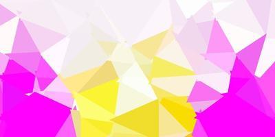 Light pink, yellow vector triangle mosaic pattern.