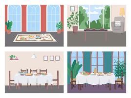 Different culture dinner flat color vector illustration set