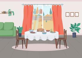 Thanksgiving serving flat color vector illustration