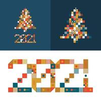 Happy New Year 2021 Vector Pixel Art Typography. Holidays Greeting Card Illustration. Letters From Strips, Squares and Dots. Geometric New Year Posters Like Electronic Scoreboard.