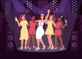Ilustración de vector de color plano de fiesta de discoteca
