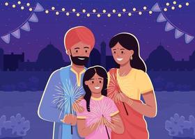 Happy indian family flat color vector illustration