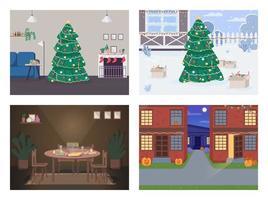 conjunto de ilustración de vector de color plano de vacaciones tradicionales
