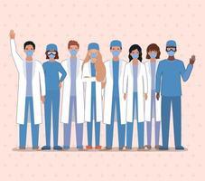 médicos hombres y mujeres con máscaras contra el diseño vectorial del virus ncov 2019 vector