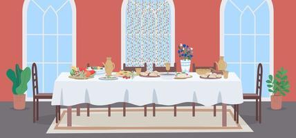 National muslim meal flat color vector illustration