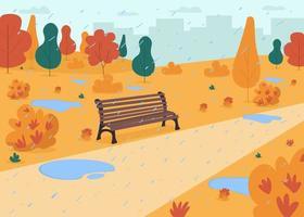 Rain in autumn park flat color vector illustration
