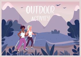 Outdoor activities banner flat vector template