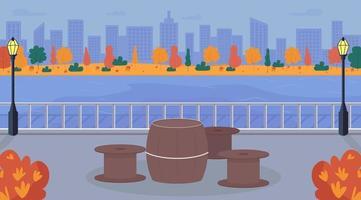 Urban picnic area flat color vector illustration