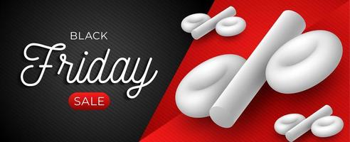 Black Friday sale horizontal template with white 3D percentage symbol on black and red background. Vector illustration with place for text