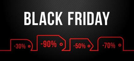 Black Friday sale on red price tag. Vector set of realistic isolated blank price tag coupons for Black Friday sale for decoration and covering on the dark background.