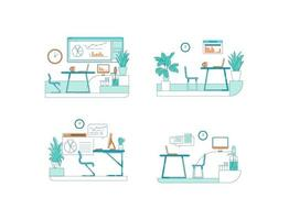 Office spaces flat color vector scene set