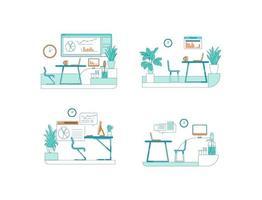 conjunto de escena de vector de color plano de espacios de oficina