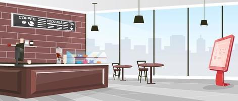 Inside cafeteria flat color vector illustration