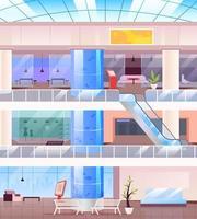 Ilustración de vector de color plano de centro comercial interior