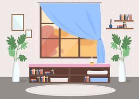Cosy room flat color vector illustration