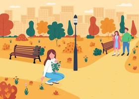 People in autumnal park flat color vector illustration