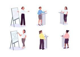 conjunto de caracteres sin rostro de vector de color plano de mujeres en liderazgo