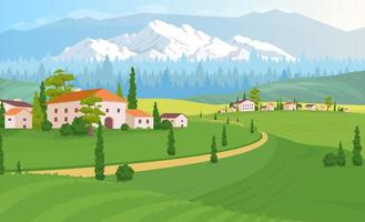 Rural dwelling scenery flat color vector illustration