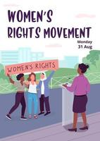 Womens rights movement poster flat vector template