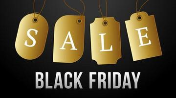 Black Friday sale on gold price tag. Vector set of realistic isolated blank price tag coupons for Black Friday sale for decoration and covering on the dark background.