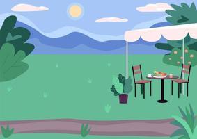 Outdoor picnic spot flat color vector illustration
