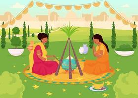 Ilustración de vector de color plano de celebración de lohri