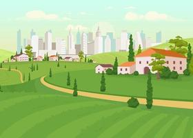 Suburban area flat color vector illustration