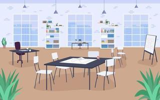 Ilustración de vector de color plano de diseño de lugar de trabajo