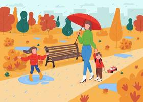 Family walk in fall park flat color vector illustration