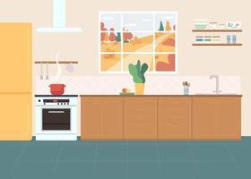 Ilustración de vector de color plano de cocina