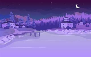 Nighttime lake in village flat color vector illustration
