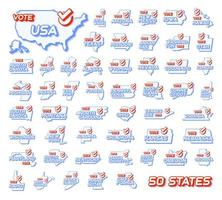 Set of 50 US states. Presidential vote in USA 2020 vector illustration. State map with text to vote and red tick or check mark of choice. Sticker Isolated on a white background.