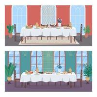 Traditional oriental banquet flat color vector illustration set