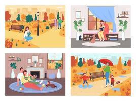 Fall activity flat color vector illustration set