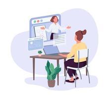 Female entrepreneurs business courses flat color vector faceless character