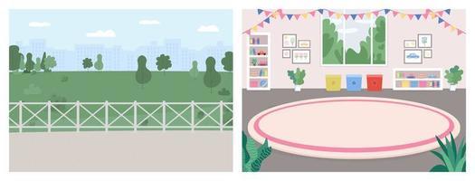 sala de juegos y lugar de recreación color plano conjunto de ilustraciones vectoriales